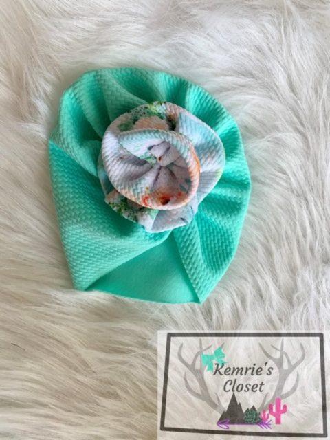 Mint Green Flower Turban Hat