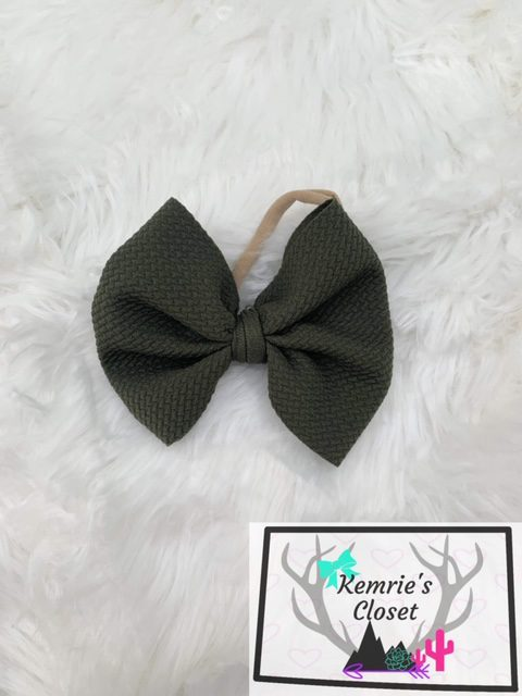 Olive Green Big Bow